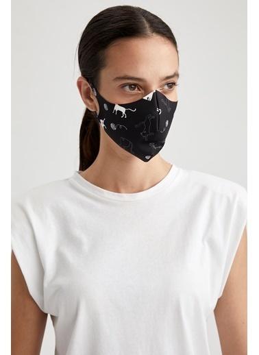 DeFacto Baskılı Yıkanabilir Maske Siyah